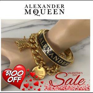 Authentic Alexander McQueen Black & Gold Bracelet
